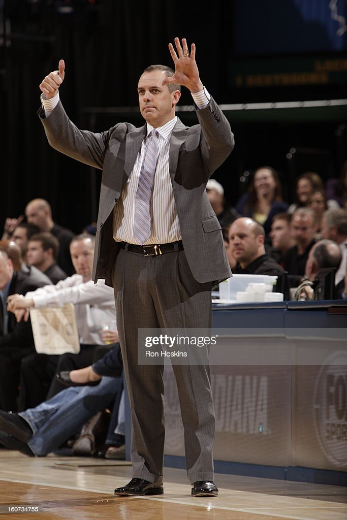 Head Coach Frank Vogel of the Indiana Pacers reacts during the game between the Indiana Pacers and the Chicago Bulls on February 4, 2013 at Bankers Life Fieldhouse in Indianapolis, Indiana.