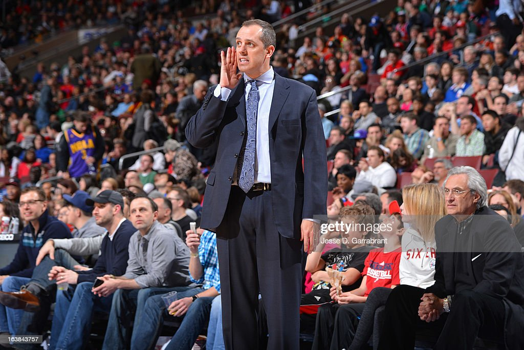 Head Coach, Frank Vogel of the Indiana Pacers reacts during the game against the Philadelphia 76ers at the Wells Fargo Center on March 16, 2013 in Philadelphia, Pennsylvania.