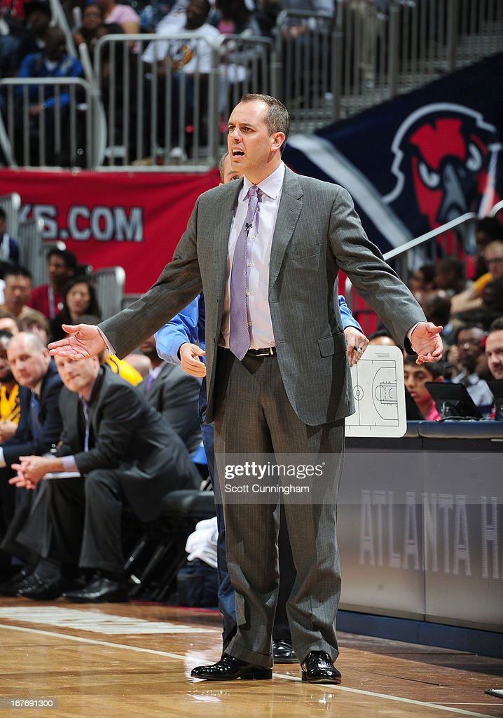 Head Coach Frank Vogel of the Indiana Pacers reacts during the Game Three of the Eastern Conference Quarterfinals between the Indiana Pacers and the Atlanta Hawks in the 2013 NBA Playoffs on April 27, 2013 at Philips Arena in Atlanta, Georgia.