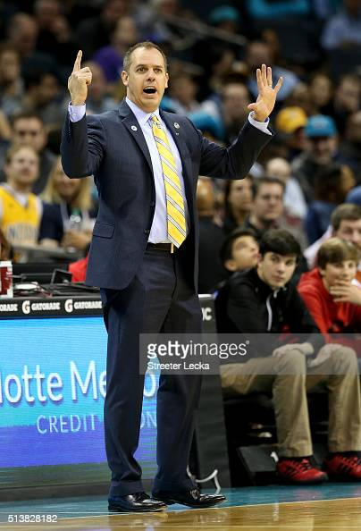 Head coach Frank Vogel of the Indiana Pacers reacts during their game against the Charlotte Hornets at Time Warner Cable Arena on March 4 2016 in...
