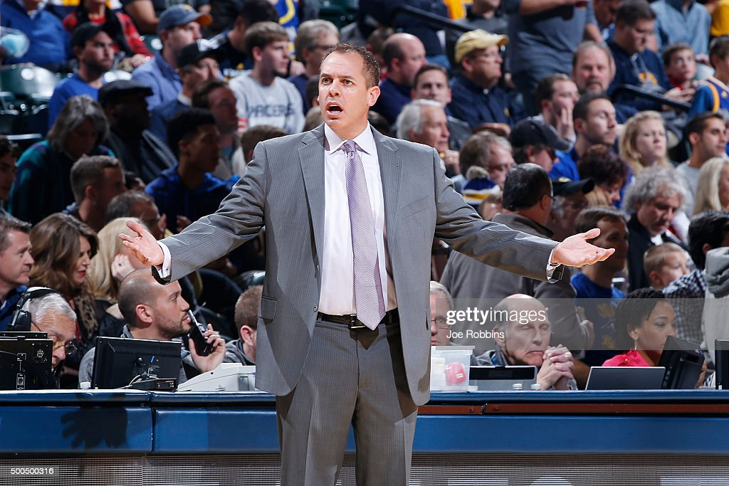 Head coach <a gi-track='captionPersonalityLinkClicked' href=/galleries/search?phrase=Frank+Vogel+-+Basketball+Coach&family=editorial&specificpeople=10043336 ng-click='$event.stopPropagation()'>Frank Vogel</a> of the Indiana Pacers reacts in the second half of the game against the Golden State Warriors at Bankers Life Fieldhouse on December 8, 2015 in Indianapolis, Indiana. The Warriors defeated the Pacers 131-123 to move to 23-0 on the season.