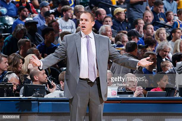 Head coach Frank Vogel of the Indiana Pacers reacts in the second half of the game against the Golden State Warriors at Bankers Life Fieldhouse on...