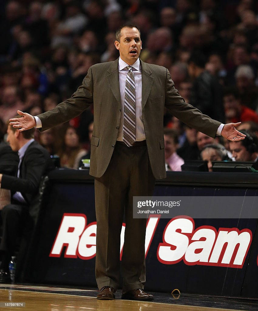 Head coach Frank Vogel of the Indiana Pacers reacts to a call during a game against the Chicago Bulls at the United Center on December 4, 2012 in Chicago, Illinois. The Pacers defeated the Bulls 80-76.