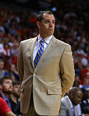Head coach Frank Vogel of the Indiana Pacers reacts to a call during a game against the Miami Heat at American Airlines Arena on January 23 2015 in...