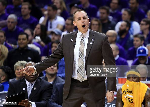 Head Coach Frank Vogel of the Indiana Pacers shouts to the referee in the second half of Game Two against the Toronto Raptors of the Eastern...