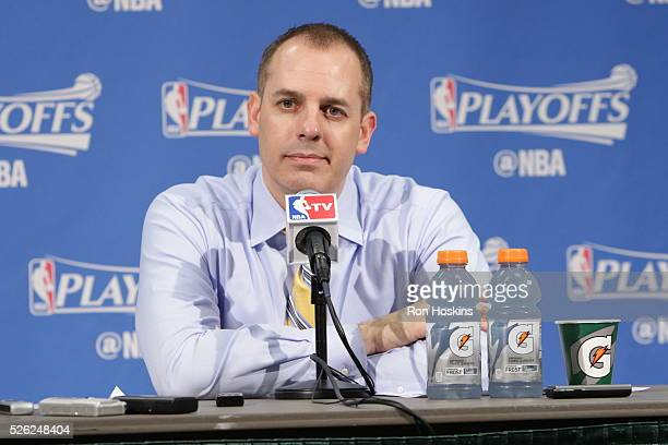 Head coach Frank Vogel of the Indiana Pacers speaks at a post game press conference after the game against the Toronto Raptors in Game Six of the...
