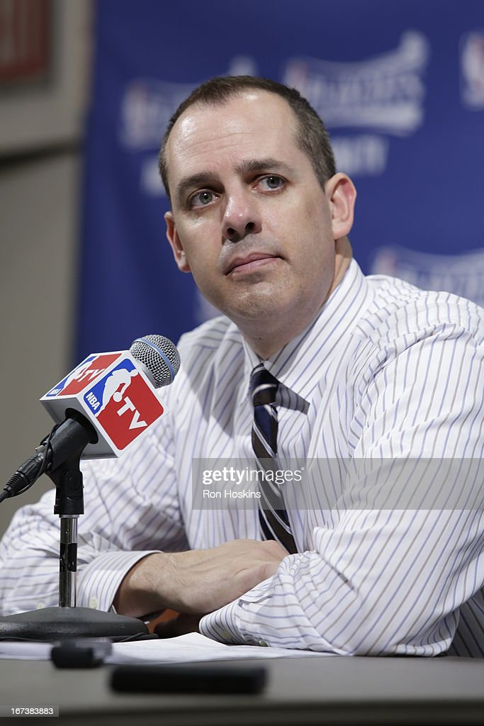 Head Coach Frank Vogel of the Indiana Pacers speaks during a press conference after winning the Game Two of the Eastern Conference Quarterfinals between the Indiana Pacers and the Atlanta Hawks on April 24, 2013 at Bankers Life Fieldhouse in Indianapolis, Indiana.
