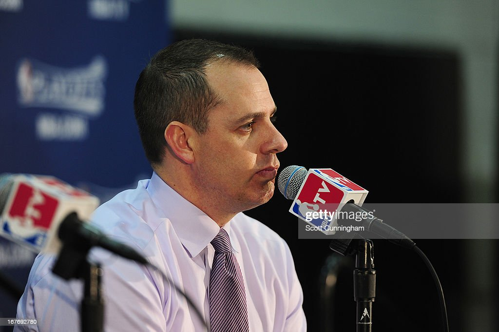 Head Coach Frank Vogel of the Indiana Pacers speaks during a press conference after the Game Three of the Eastern Conference Quarterfinals between the Indiana Pacers and the Atlanta Hawks in the 2013 NBA Playoffs on April 27, 2013 at Philips Arena in Atlanta, Georgia.