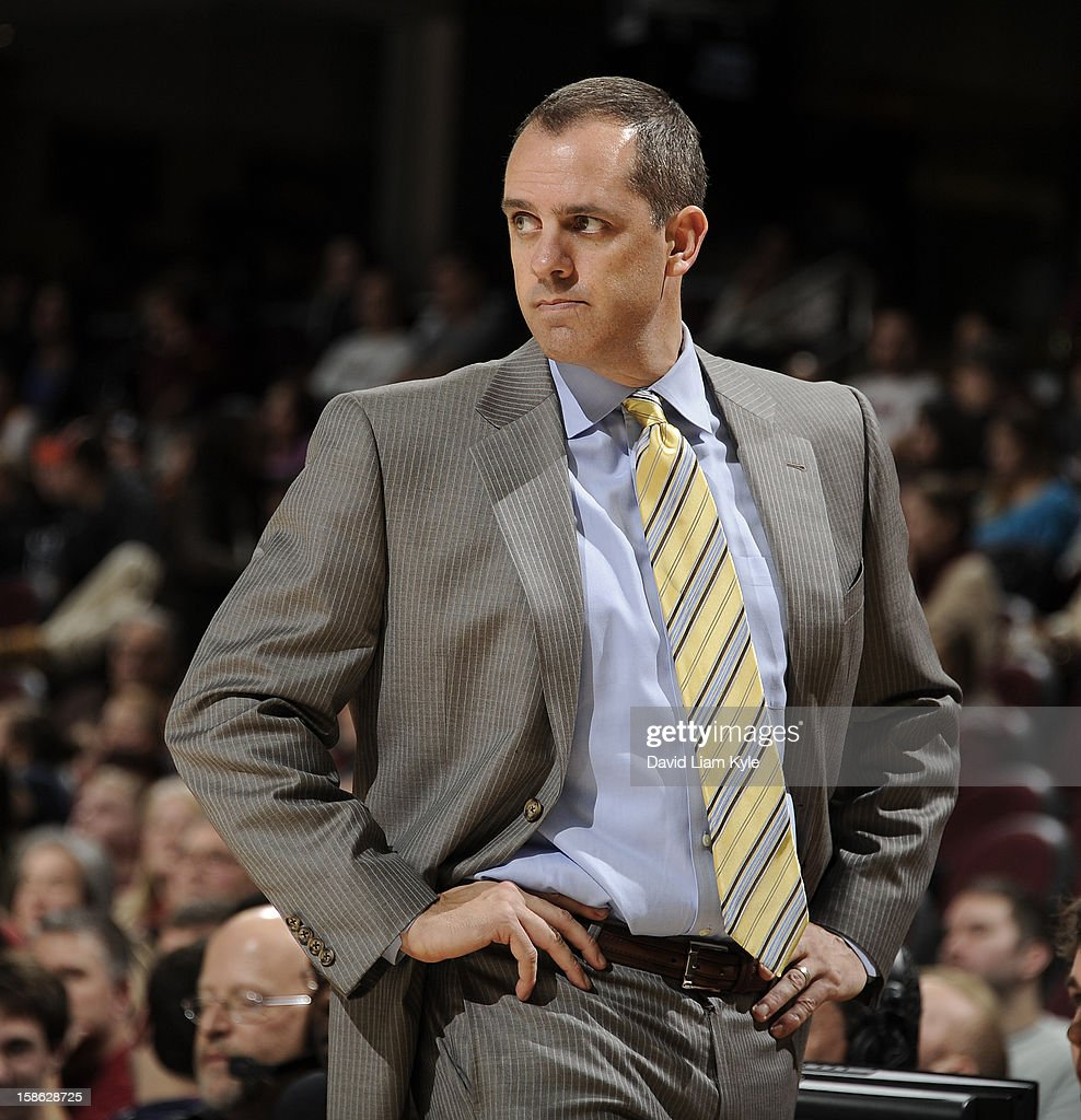 Head coach Frank Vogel of the Indiana Pacers stares at his players during a break in the action against the Cleveland Cavaliers at The Quicken Loans Arena on December 21, 2012 in Cleveland, Ohio.