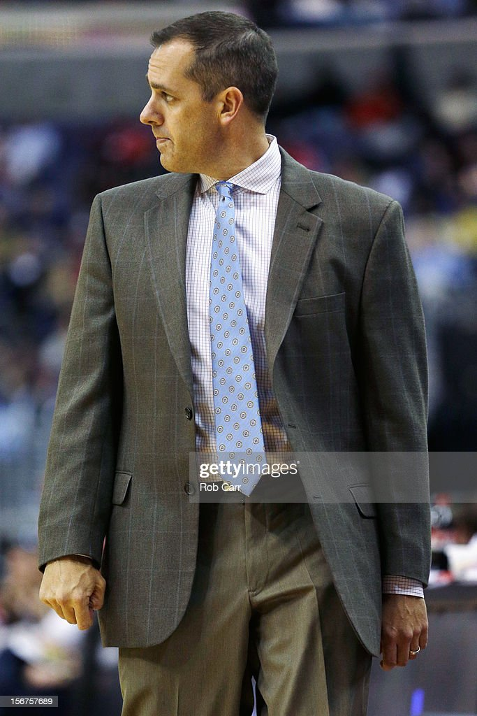 Head coach Frank Vogel of the Indiana Pacers walks the court during the second half of the Pacers game against the Washington Wizards at Verizon Center on November 19, 2012 in Washington, DC.