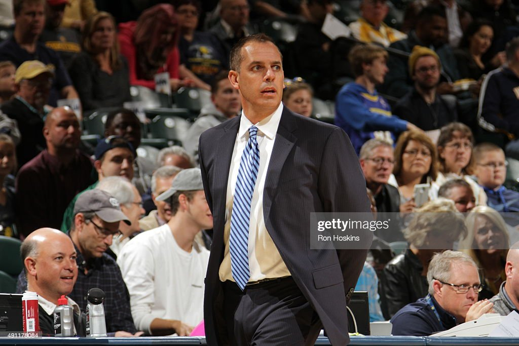 Head coach Frank Vogel of the Indiana Pacers watche during a preseason game against the New Orleans Pelicans on October 3 2015 at Bankers Life...