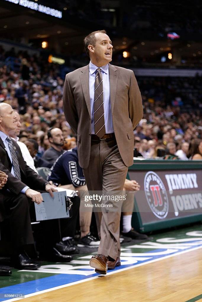Head Coach <a gi-track='captionPersonalityLinkClicked' href=/galleries/search?phrase=Frank+Vogel+-+Basketball+Coach&family=editorial&specificpeople=10043336 ng-click='$event.stopPropagation()'>Frank Vogel</a> of the Indiana Pacers yell from the sidelines during the game against the Milwaukee Bucks at BMO Harris Bradley Center on April 13, 2016 in Milwaukee, Wisconsin.