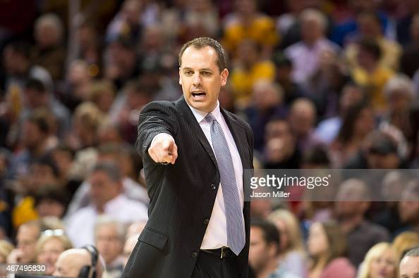 Head coach Frank Vogel of the Indiana Pacers yells to his team during the first half against the Cleveland Cavaliers at Quicken Loans Arena on March...