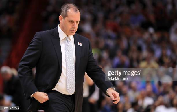 Head coach Frank Vogel of the Orlando Magic looks on during a game against the Miami Heat at American Airlines Arena on February 13 2017 in Miami...