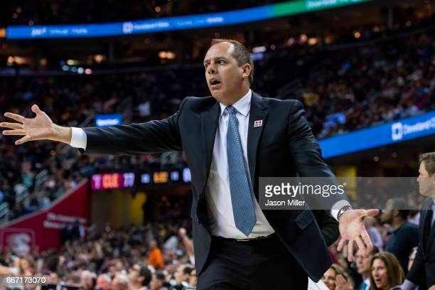 Head coach Frank Vogel of the Orlando Magic reacts after a play during the second half against the Cleveland Cavaliers at Quicken Loans Arena on...