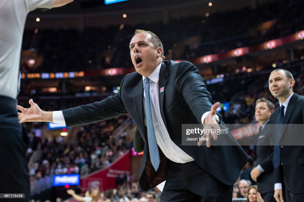 Head coach Frank Vogel of the Orlando Magic reacts after a play during the second half against the Cleveland Cavaliers at Quicken Loans Arena on April 4, 2017 in Cleveland, Ohio. The Cavaliers defeated the 122-102.