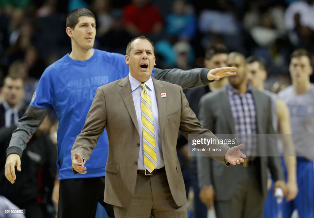 Head coach Frank Vogel of the Orlando Magic reacts during their game against the Charlotte Hornets at Spectrum Center on March 10, 2017 in Charlotte, North Carolina.