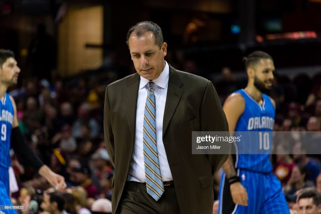 Head coach Frank Vogel of the Orlando Magic reacts on the sidelines during the first half of a preseason game against the Cleveland Cavaliers at Quicken Loans Arena on October 5, 2016 in Cleveland, Ohio.