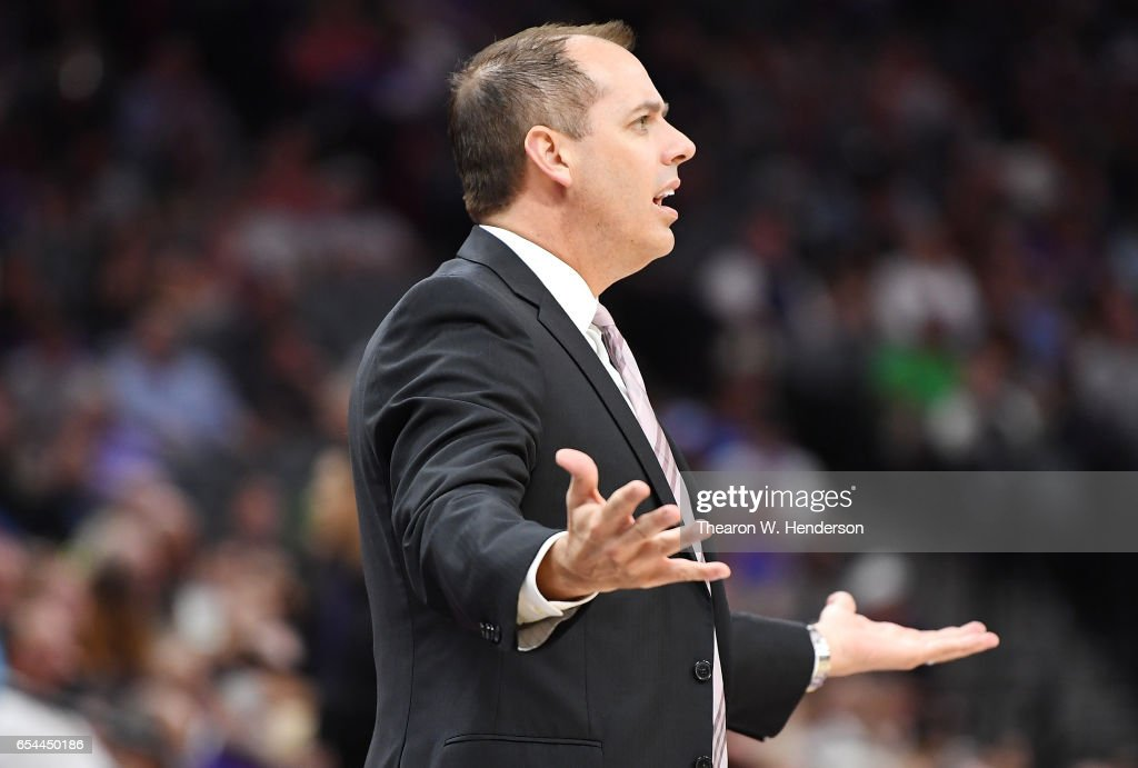 Head coach Frank Vogel of the Orlando Magic reacts to a call against the Sacramento Kings during an NBA basketball game at Golden 1 Center on March 13, 2017 in Sacramento, California.