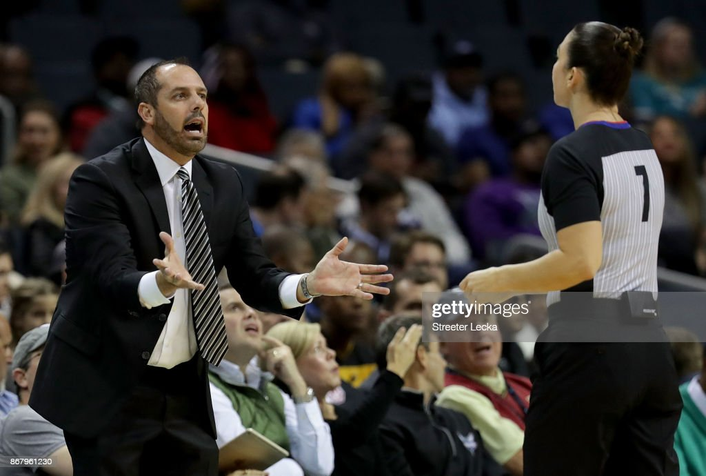 Head coach Frank Vogel of the Orlando Magic reacts to a call during their game against the Charlotte Hornets at Spectrum Center on October 29, 2017 in Charlotte, North Carolina.