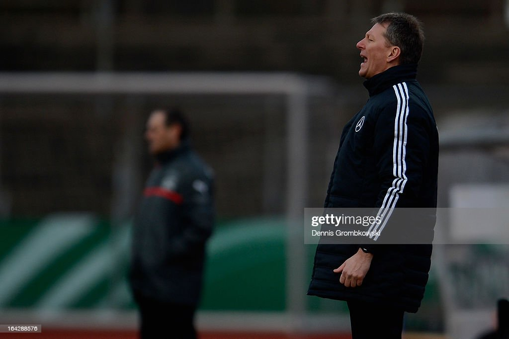 Head coach Frank Wormuth of Germany reacts during the International Friendly match between U20 Germany and U20 Switzerland on March 22, 2013 in Cologne, Germany.