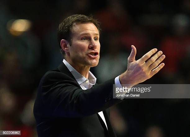 Head coach Fred Hoiberg of the Chicago Bulls gives instructions to his team against the Brooklyn Nets at the United Center on December 21 2015 in...