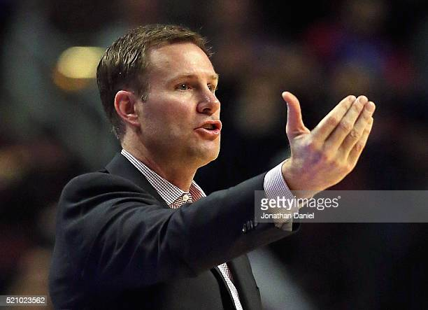 Head coach Fred Hoiberg of the Chicago Bulls gives instructions to his team against the Philadelphia 76ers at the United Center on April 13 2016 in...