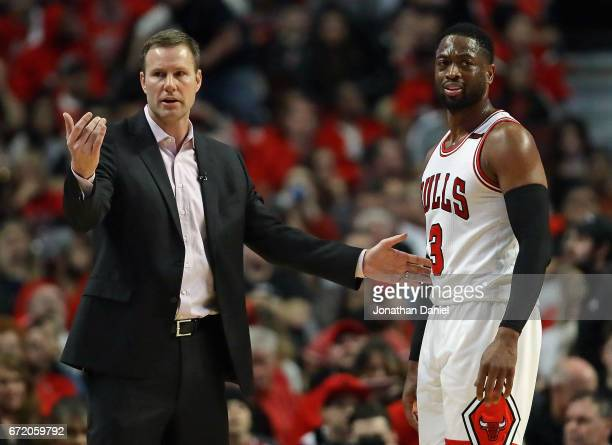 Head coach Fred Hoiberg of the Chicago Bulls gives instructions to Dwyane Wade during Game Four of the Eastern Conference Quarterfinals against the...