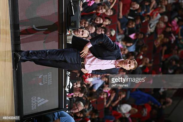 Head Coach Fred Hoiberg of the Chicago Bulls looks on against the New Orleans Pelicans on October 12 2015 at the United Center in Chicago Illinois...