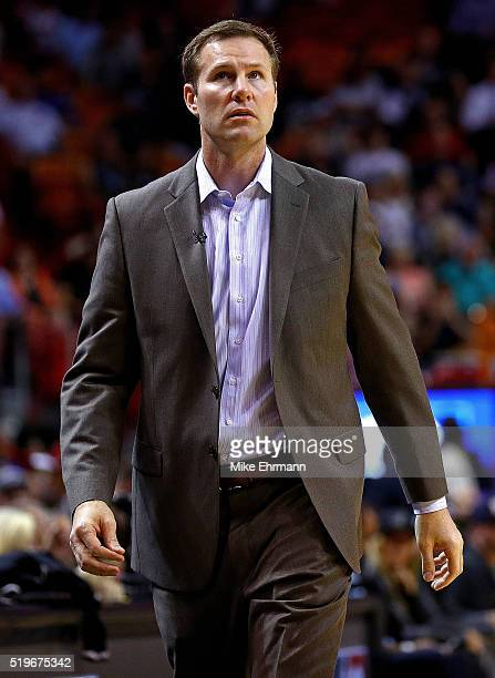 Head coach Fred Hoiberg of the Chicago Bulls looks on during a game against the Miami Heat at American Airlines Arena on April 7 2016 in Miami...