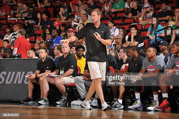 Head coach Fred Hoiberg of the Chicago Bulls looks on during the 2015 NBA Las Vegas Summer League game against the Cleveland Cavaliers on July 15...