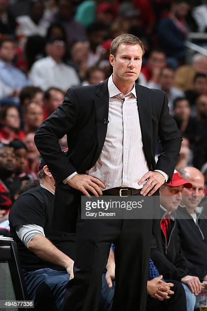 Head Coach Fred Hoiberg of the Chicago Bulls looks on during the game against the Cleveland Cavaliers on October 27 2015 at the United Center in...