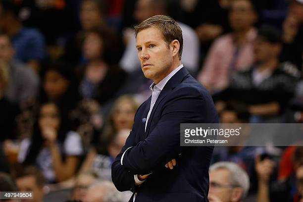 Head coach Fred Hoiberg of the Chicago Bulls on the bench during the NBA game against the Phoenix Suns at Talking Stick Resort Arena on November 18...