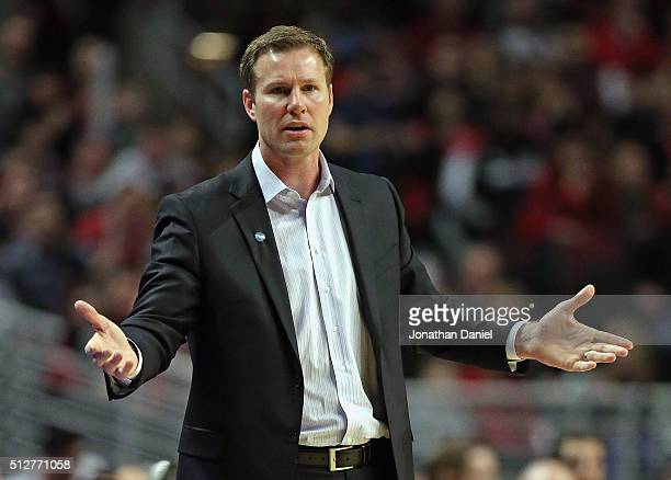 Head coach Fred Hoiberg of the Chicago Bulls questions a call during a game against the Portland Trail Blazers at the United Center on February 27...