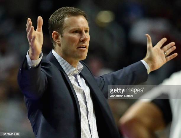 Head coach Fred Hoiberg of the Chicago Bulls questions a call during a game against the Philadelphia 76ers at the United Center on March 24 2017 in...