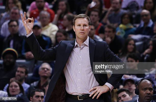 Head Coach Fred Hoiberg of the Chicago Bulls reacts during an NBA game against the Toronto Raptors at the Air Canada Centre on January 03 2016 in...