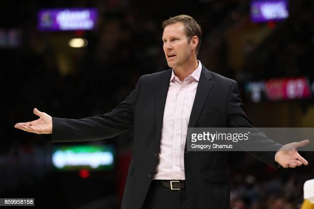Head coach Fred Hoiberg of the Chicago Bulls reacts while playing the Cleveland Cavaliers during a pre season game at Quicken Loans Arena on October...