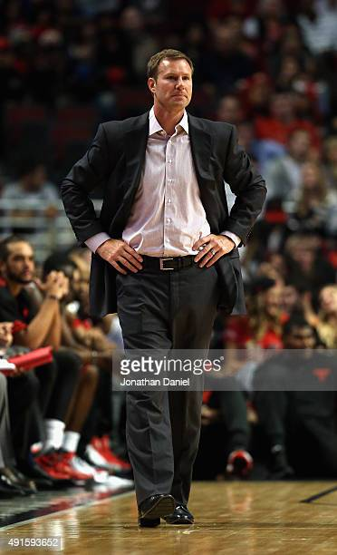 Head coach Fred Hoiberg of the Chicago Bulls watches his team during a preseason game against the Milwaukee Bucks at the United Center on October 6...