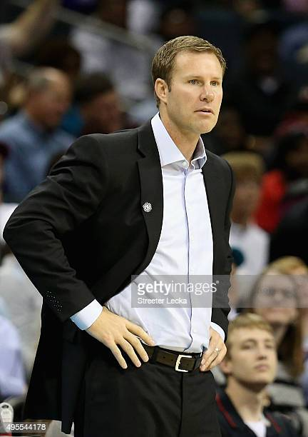 Head coach Fred Hoiberg of the Chicago Bulls watches on against the Charlotte Hornets during their game at Time Warner Cable Arena on November 3 2015...