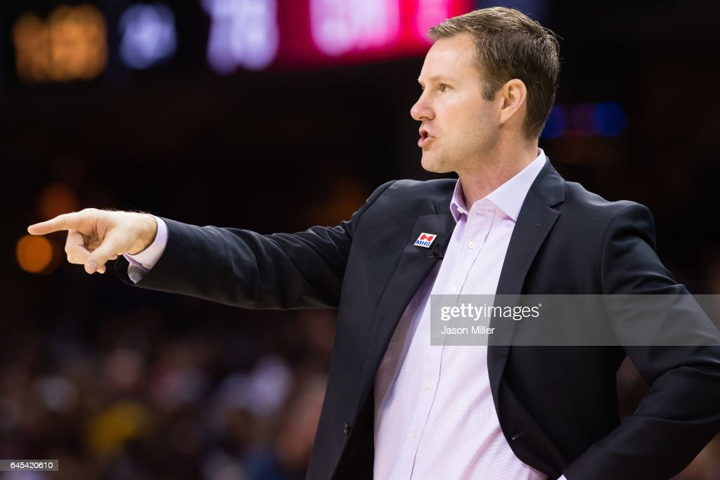 Head coach Fred Hoiberg of the Chicago Bulls yells to his players during the second half against the Cleveland Cavaliers at Quicken Loans Arena on February 25, 2017 in Cleveland, Ohio. The Bulls defeated the Cavaliers 117-99.