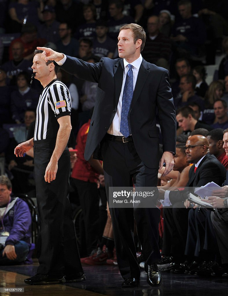 Head coach Fred Hoiberg of the Iowa State Cyclones calls out instructions against the Kansas State Wildcats during the first half on February 9, 2013 at Bramlage Coliseum in Manhattan, Kansas. Kansas State defeated Iowa State 79-70.