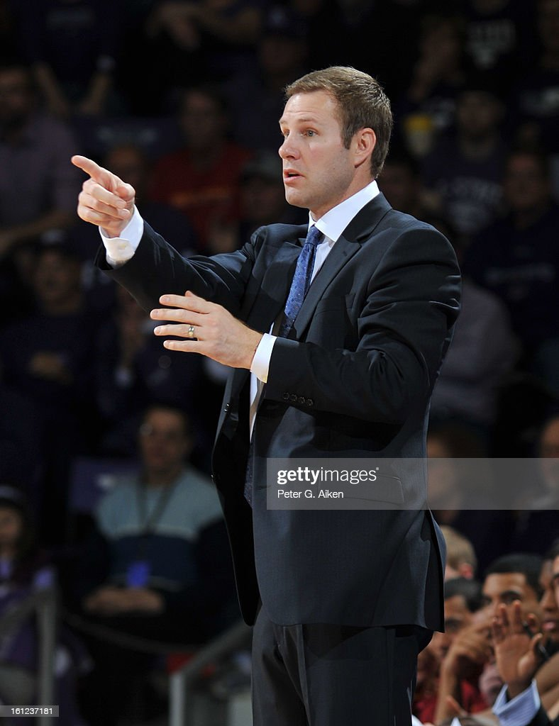 Head coach Fred Hoiberg of the Iowa State Cyclones calls out instructions against the Kansas State Wildcats during the second half on February 9, 2013 at Bramlage Coliseum in Manhattan, Kansas. Kansas State defeated Iowa State 79-70.