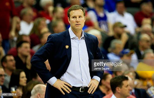 Head coach Fred Hoiberg of the Iowa State Cyclones reacts in the second half against the Oklahoma Sooners during a semifinal game of the 2015 Big 12...