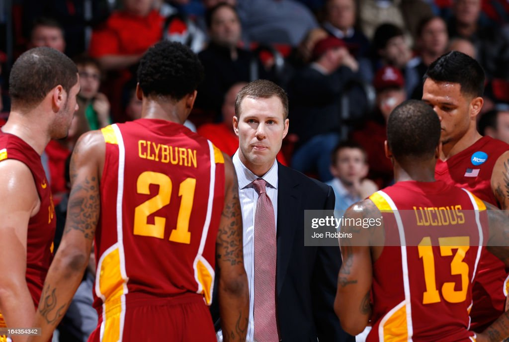 Head coach Fred Hoiberg of the Iowa State Cyclones talks to his players on the sidelines in the second half against the Notre Dame Fighting Irish during the second round of the 2013 NCAA Men's Basketball Tournament at UD Arena on March 22, 2013 in Dayton, Ohio.