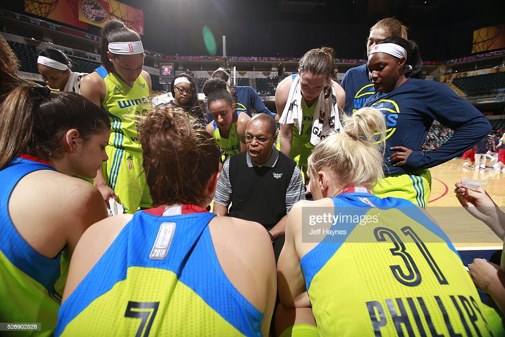 Head coach Fred Williams of Dallas Wings draws up a play during a preseason game against the Indiana Fever on May 1, 2016 at Bankers Life Fieldhouse in Indianapolis, Indiana.