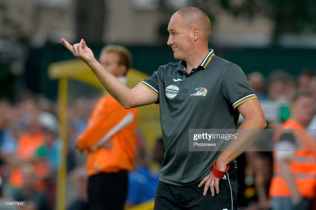 Head Coach Frederik Vanderbiest of KV Oostende issues instructions to his players during the Jupiler Pro League match between KV Oostende and Club Brugge KV on August 4, 2013 in Oostende, Belgium. (Photo by Peter De Voecht/Photonews