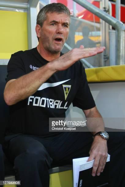 Head coach Friedhelm Funkel of Aachen looks on prior to the Second Bundesliga match between Alemannia Aachen and FSV Frankfurt at Tivoli Stadium on...