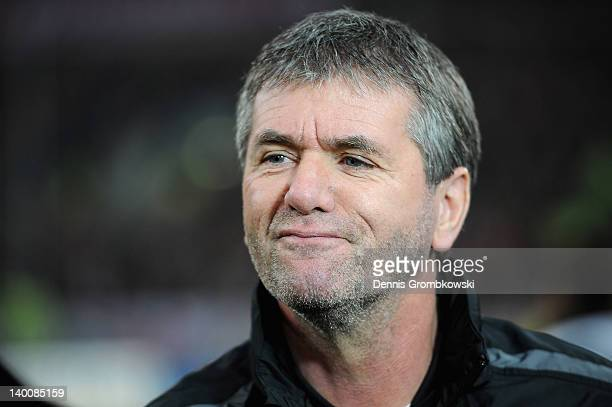 Head coach Friedhelm Funkel of Aachen looks on prior to the Second Bundesliga match between Fortuna Duesseldorf and Alemannia Aachen at ESPRIT Arena...