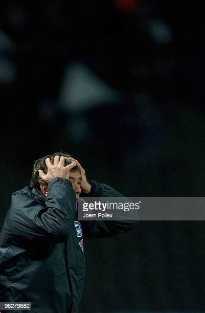 Head coach Friedhelm Funkel of Berlin gestures during the Bundesliga match between Hertha BSC Berlin and VfL Bochum at Olympic Stadium on January 30...