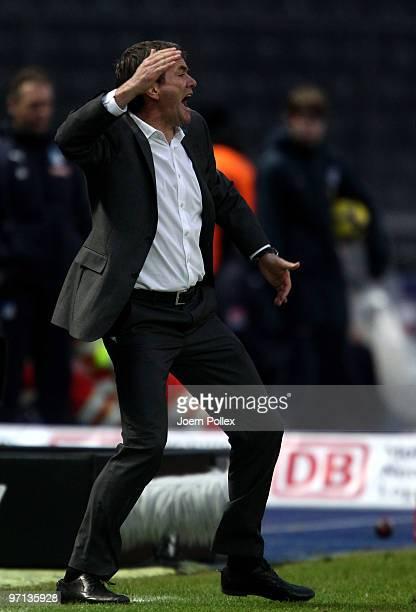 Head coach Friedhelm Funkel of Berlin gestures during the Bundesliga match between Hertha BSC Berlin v 1899 Hoffenheim at Olympic Stadium on February...